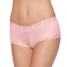 Maidenform Scalloped Lace-Trim Modal Cheeky Hipster 40837 - Women's, Light Pink