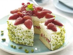 Fluffy strawberry cake.