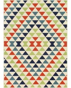 LOVE this Indoor/ Outdoor Multi Kaleidoscope Rug. Perfect for a porch or patio