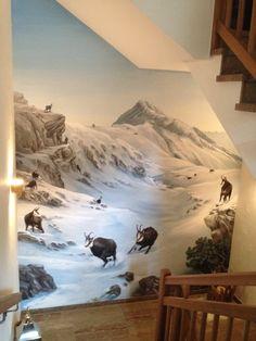 Wandmalerei-Gamsbrunft My World, Murals, Mount Everest, Mountains, Nature, Travel, Carpet, Mural Painting, Naturaleza