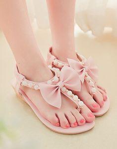 Open toe pearls bow flip-flops flats