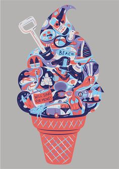 'Summertime vibes and ice cream' on Behance