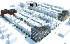 Totaling square foot, the Brush Park scheme comprises four lots where a combination of residential and mixed-use buildings will be constructed. Site Plan Rendering, Detroit Neighborhoods, Perforated Metal Panel, Cedar Cladding, Cladding Materials, Mix Use Building, Creative Architecture, Urban Fabric, Lafayette Park