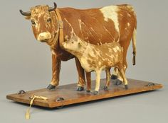 LARGE GERMAN COW AND CALF PULL TOY : Lot 1777