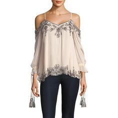Love Sam Embellished Long Sleeve Blouse ($189) ❤ liked on Polyvore featuring tops, blouses, beaded blouses, cold shoulder tops, rayon blouse, long blouse and pink cold shoulder top