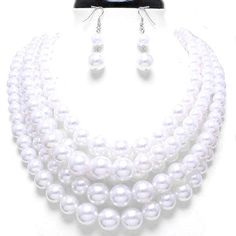 Simple Statement Layered Strands White Pearl Beads Silver Chain Necklace Earrings Set Bridesmaid Gift *** Check out the image by visiting the link.