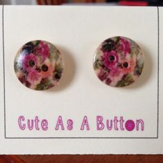 Dark pink and green vintage floral look wooden button earrings  http://www.facebook.com/cuteasabuttonni