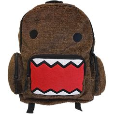Take Domo wherever you go with this brown backpack, featuring Domo's grinning, sawtoothed face in felt on the soft plush front. Includes a spacious main compartment, zippered front pocket, zippered side pouches and padded adjustable straps for the ultimate in function and style from Japan's strangest, cuddliest export!