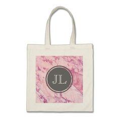 Pink Marble Monogram With Gray Circle Motif Tote Bag #monogram #personalised #custom #named #gifts #cosmetic #makeup #beauty