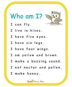 Guessing Game for Kids -  Who am I? - I am a bee