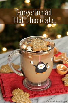 Gingerbread Hot Chocolate made with a simple homemade gingerbread syrup! Christmas Drinks, Holiday Drinks, Christmas Baking, Holiday Recipes, Merry Christmas, Christmas Morning, Christmas Desserts, Christmas Recipes, Winter Christmas