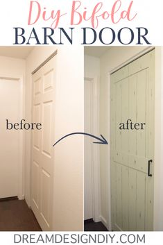 For 15 easily turn a bifold door into a barn door by adding a sheet of plywood Great ideas for a bedroom kitchen hall linen or laundry room closet or pantry It adds a mod. Home Renovation, Home Remodeling, Kitchen Remodeling, Porta Diy, Design Diy, Design Ideas, Creative Design, Bifold Barn Doors, Bifold Door Hardware