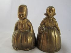 2 Vintage Brass BELLS  Dutch Lady and Man 2 TALL by GingerNIrie