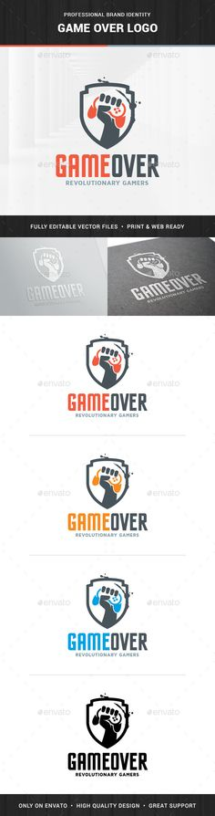 The Game Over Logo Template A professional logo design for many kinds of game related business. All elements are fully vector and