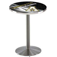 """Appalachian State Mountaineers D2 Stainless Steel Pub Table. Available in 28"""" and 36"""" Table Top Widths. Visit SportsFansPlus.com for details."""