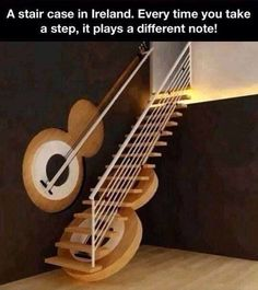A guitar stair case that actually plays notes with every step.
