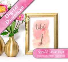 Printable Table Numbers 1-30, Watercolour Effect  Hello, thank you for visiting my shop, and congratulations on your upcoming wedding!  These DIY printable table numbers make a great centrepiece in a pretty frame and will add a touch of casual elegance to your reception tables. ➖➖➖➖➖➖➖➖➖  🌸 The Emillie Watercolour Collection 🌸  The Emillie suite is a very relaxed and casual set of wedding stationery. Its based on the set I created for my own wedding. The loose flowing brush script is drawn…