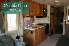 Updating RV Counters With Giani Granite Countertop Paint.. this blog has a whole section following a couples camper remodel with tips.