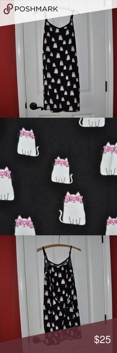 JUSTICE Girl's Black Cat in Glasses Print Sundress size 20 (XXL) condition: excellent color: black  kitty cats in glasses print adjustable straps attached tie  @cjrose25  More kids clothes in my Posh closet. Bundle your likes for a discount & save on shipping. Justice Dresses Casual