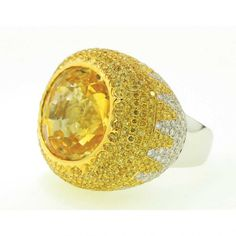 Yellow and white diamond ring by Yael Designs