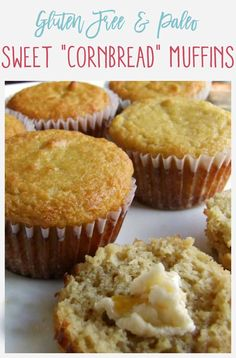 These Paleo Cornbread Muffins taste amazingly like traditional cornbread and are sweet and almost cake-like! These Paleo Cornbread Muffins taste amazingly like traditional cornbread and are sweet and almost cake-like! Sweet Cornbread Muffins, Healthy Cornbread, Gluten Free Cornbread, Oat Muffins, Paleo Bread, Paleo Baking, Gluten Free Baking, Paleo Food, Recipes