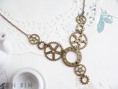 Antique engrenages Bronze collier collier par 8thSinCreations