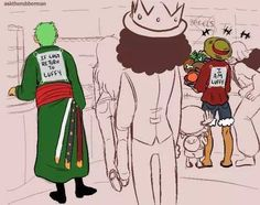 In case Zoro gets lost. <- One problem though; Luffy gets just as last as Zoro does. The best idea would be to give both of them a sign saying ' if lost return to Nami'. One Piece Meme, One Piece Funny, Anime One Piece, One Piece Comic, Zoro One Piece, Roronoa Zoro, Zoro Nami, Nos4a2, The Pirate King