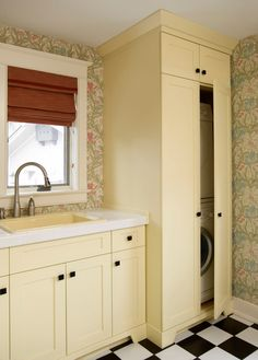 Small Laundry Room Solutions Design Ideas, Pictures, Remodel, and Decor - page 2 Laundry In Kitchen, Laundry Bathroom Combo, Laundry Closet, Laundry Room Storage, Small Bathroom, Laundry Cabinets, Laundry Rooms, Kitchen Cabinets, Laundry Cupboard