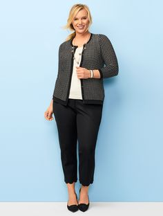 A timeless staple, the textured stitching instantly elevates the look and feel of this classic crewneck cardigan. | Talbots