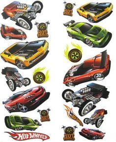 HOT WHEELS race cars wall stickers 20 decals decor room