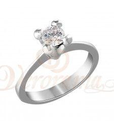 Μονόπετρo δαχτυλίδι Κ18 λευκόχρυσο με διαμάντι κοπής brilliant - MBR_083