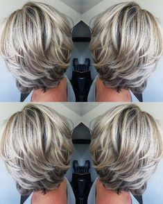 Blonde Layered Hair, Silver Blonde Hair, Purple Hair, Pastel Hair, Short Hair With Layers, Short Hair Cuts, Medium Hair Styles, Short Hair Styles, Long Gray Hair