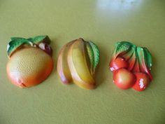 Set of 3 Chalkware Chalk Ware Plaster Fruit Orange by MadGirlRetro