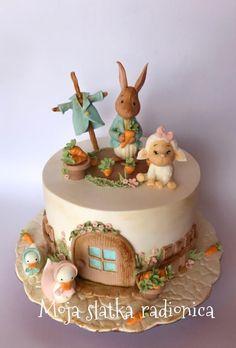 Easter cake by Branka Vukcevic rabbit cake beatrix potter Easter cake Easter Bunny Cake, Easter Cookies, Beatrix Potter Cake, Bolo Fack, Peter Rabbit Cake, Baby Birthday Cakes, Animal Cakes, Occasion Cakes, Cute Cakes