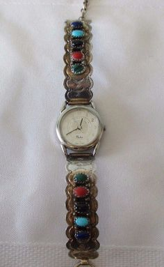 Larry Moses Yazzie sterling silver and gemstone watch.