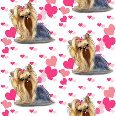 Yorkie Pink Hearts fabric by catiacho on Spoonflower - custom fabric