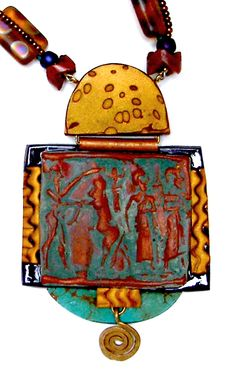 Image of Antique Polymer Sumerian Hinged Pendant Tory Hughes