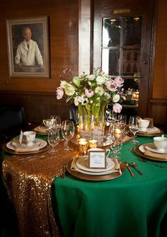 Emerald and gold wedding theme