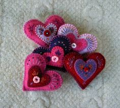 Pink Heart Felt Brooch, Upcycled Wool