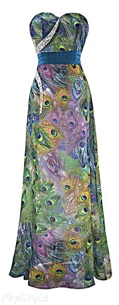 Angel-fashions Strapless Long Peacock Dress