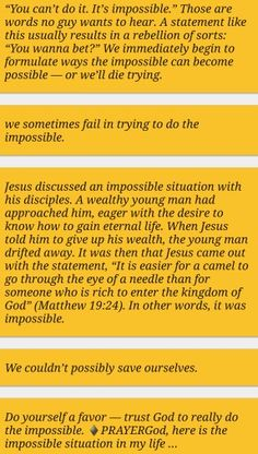 Trust God to do the impossible
