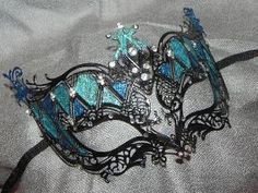 New to on Etsy: Shades of Turquoise and Black Metallic Masquerade Mask USD) Sweet 16 Masquerade, Masquerade Theme, Masquerade Wedding, Venetian Masquerade, Venetian Masks, Masquerade Ball, Masquerade Halloween Costumes, Party Costumes, Halloween Makeup