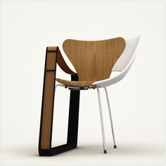 The Frankenstein Chair was designed by T. Schmid for Strala - just take one Cité Lounge Chair by Jean Prouvé, a Series 7 by Arne Jacobsen and add a little Tom Vac by Ron Arad, and voila! - via chairsmith Wood Furniture, Modern Furniture, Furniture Cleaning, Furniture Design Images, The Frankenstein, Into The Woods, Minimalist Furniture, Cool Chairs, Wood And Metal