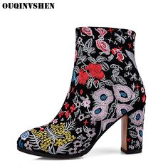 59.90$  Buy here - http://alirz5.shopchina.info/1/go.php?t=32816186468 - OUQINVSHEN Ethnic Embroider Round Toe Boots Casual Fashion Women Ankle Boots Flower Square heel High Heels Ladies Girl Boots   #aliexpresschina