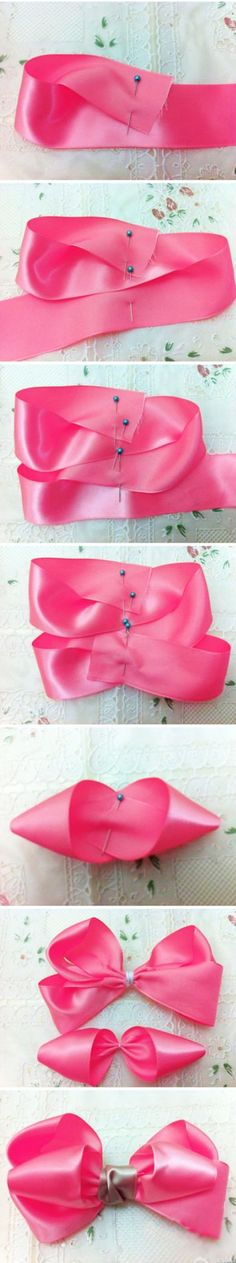 Discover thousands of images about Hair bow tutorial. Ribbon Hair Bows, Diy Hair Bows, Diy Bow, Diy Ribbon, Ribbon Work, Ribbon Crafts, Diy Crafts, How To Make A Ribbon Bow, Hair Bow Tutorial