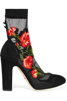 Dolce & GabbanaEmbroidered stretch-tulle and suede pumps