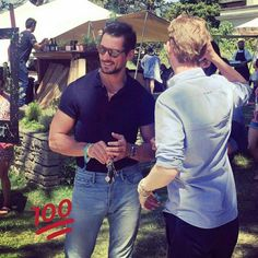 David Gandy today at #SmokeandUncut festival with friends. ❤️ 09/07/2017.