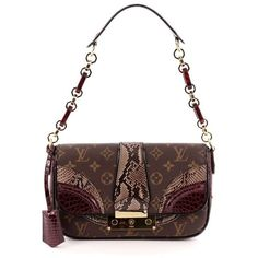 Pre-Owned Louis Vuitton Monogramissime Pochette Monogram Canvas and... (5 085 AUD) ❤ liked on Polyvore featuring bags, brown, hardware bag, louis vuitton, white bag, lock bag and brown handle bags