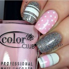 If you want a unique and stylish design, then consider polishing your nails with dots and stripes nail art design. Here are the best ideas for a joyful spring designs on your nails. Get Nails, Fancy Nails, Pink Nails, Hair And Nails, Striped Nail Designs, Striped Nails, Cute Nail Designs, Fabulous Nails, Gorgeous Nails