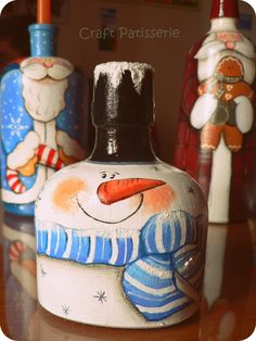 country painting , Christmas, bottles